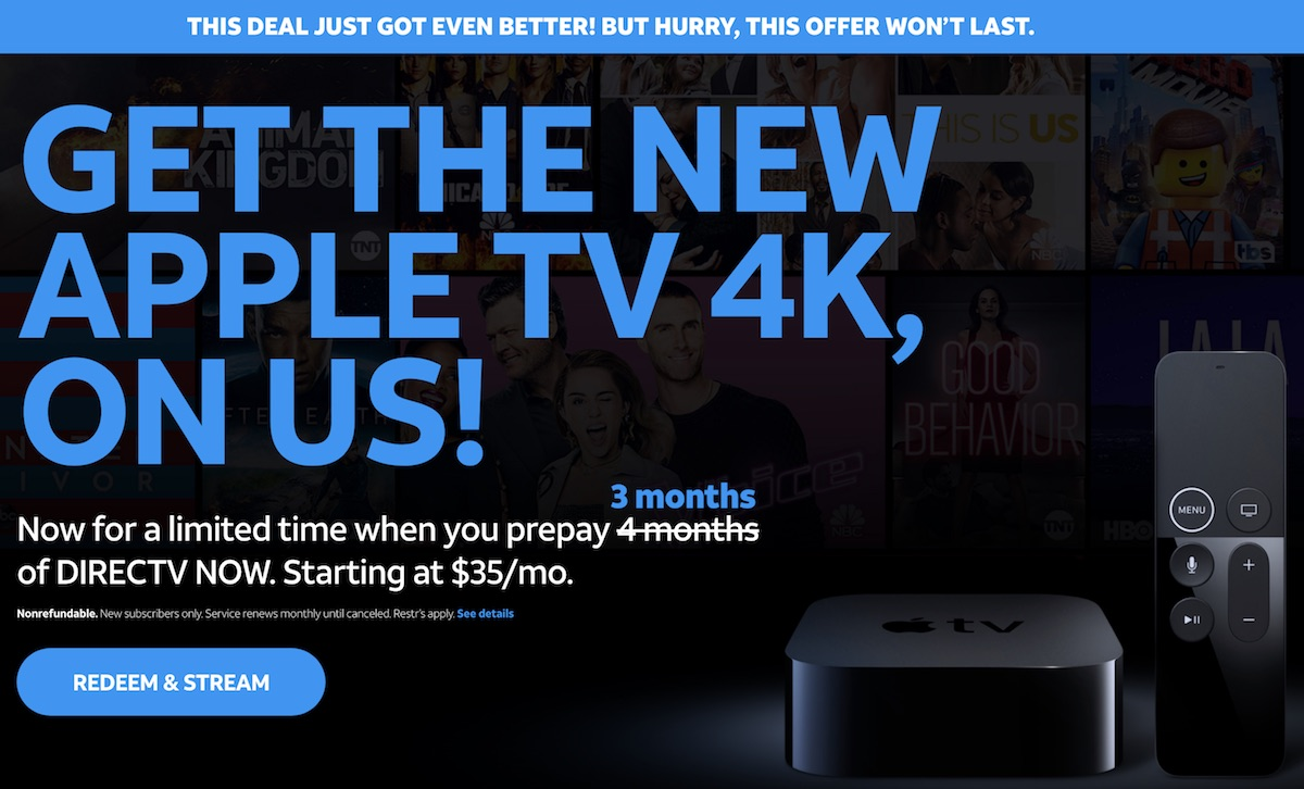 directv now sweetens deal prepay three months of service for 105 and get a free 32gb apple tv 4k