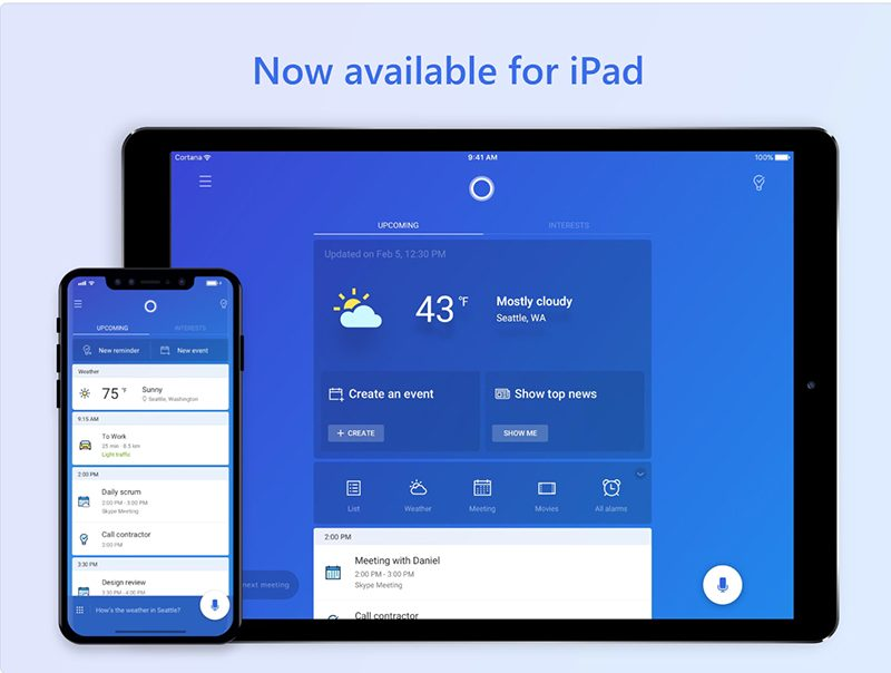 microsoft s cortana assistant now available on ipad