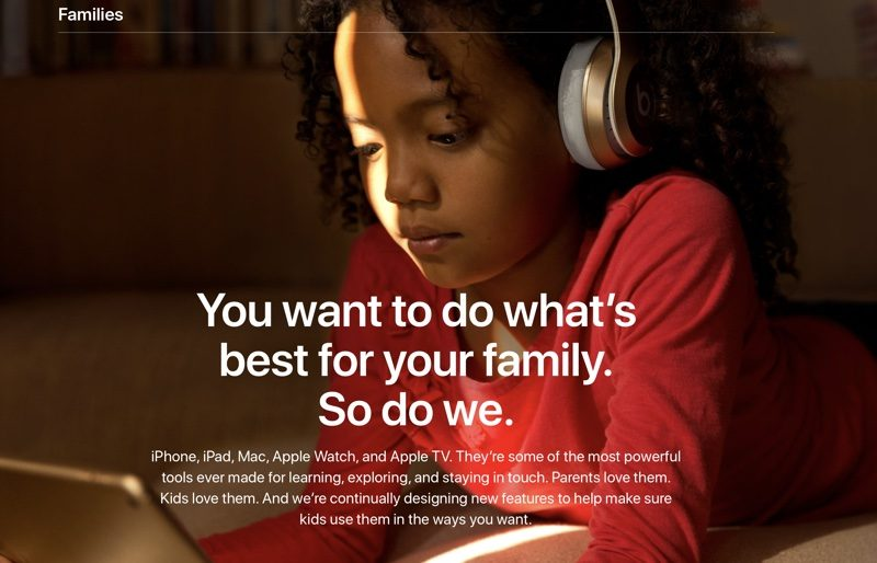 apple adds new families section to its website with tips for parents