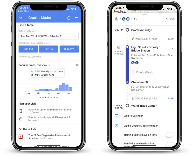 google maps for ios gains restaurant wait times improved transit directions and more