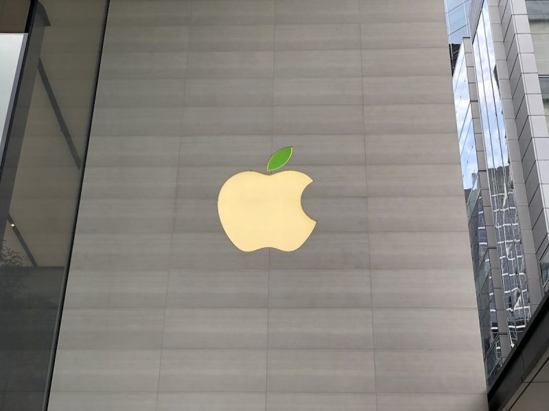 apple retail store logos gain green leaves in celebration of earth day