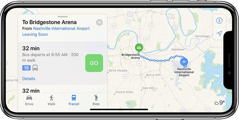 apple maps now supports transit in tennessee including nashville memphis and knoxville areas