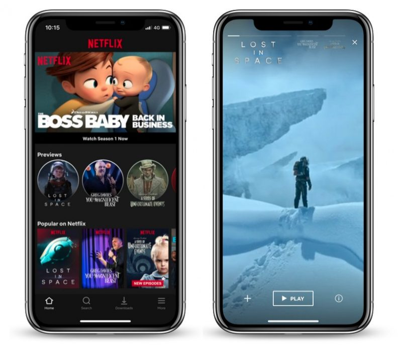 netflix adds 30 second preview videos to ios app
