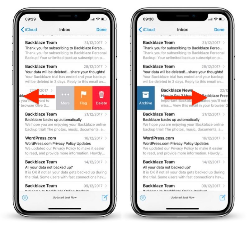 How to Customize Mail App Inbox Gestures in iOS 11