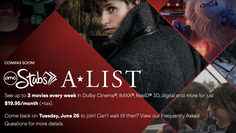 amc launches stubs a list moviepass competitor for 19 99 per month launching june 26