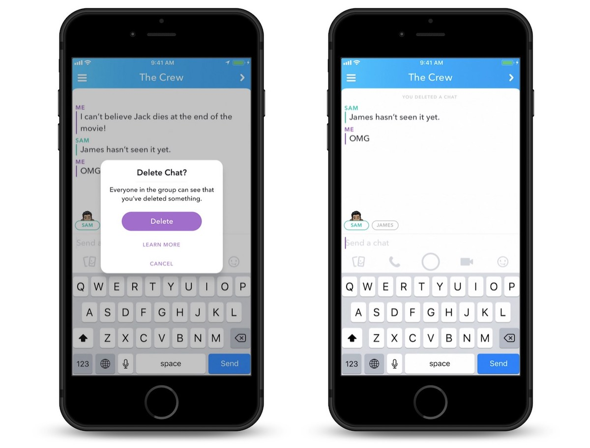 snapchat introduces ability to delete messages even after you ve sent them