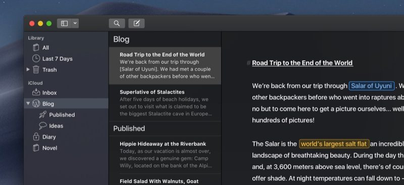 ulysses app gains new mojave ready dark mode siri shortcuts in ios 12 and more