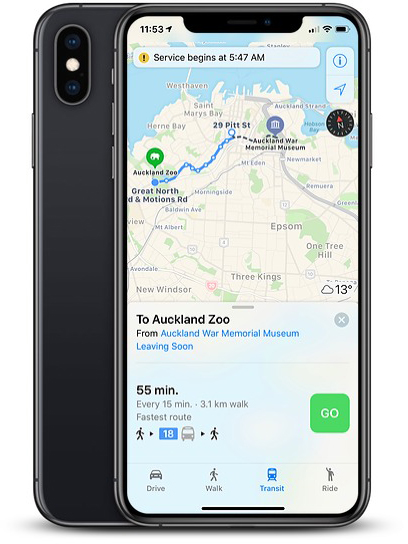 apple maps now provides transit directions across new zealand