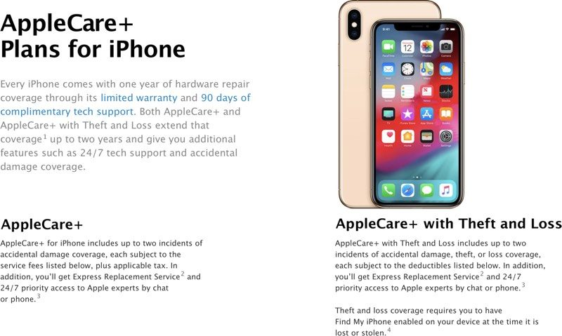 apple debuts new applecare theft and loss plan priced at 299 for iphone xs and xs max