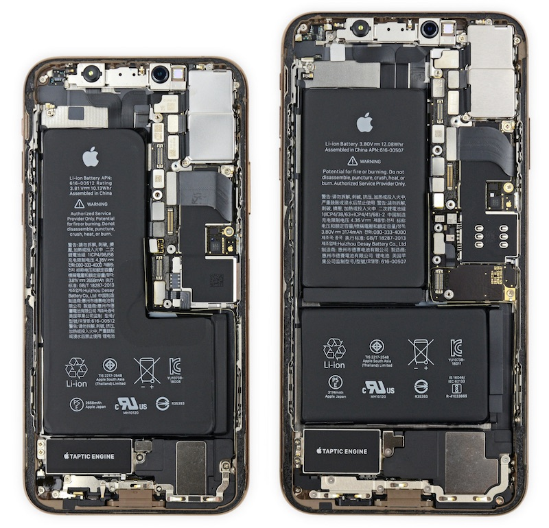 ifixit iphone xs has notched battery and iphone xs max has apple designed power management chip updated
