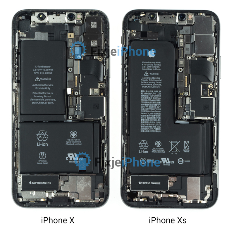 iphone xs teardown reveals new single package l shaped battery updated