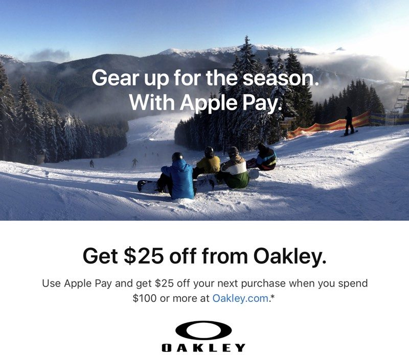 apple pay promo offers 25 coupon after 100 purchase from oakley