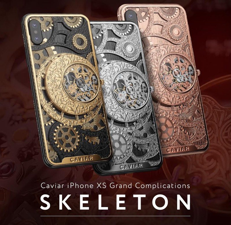 caviar launches 6 000 custom iphone xs with built in mechanical skeleton watch