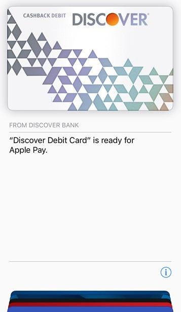 Discover Cashback Debit Cards Now Work With Apple Pay