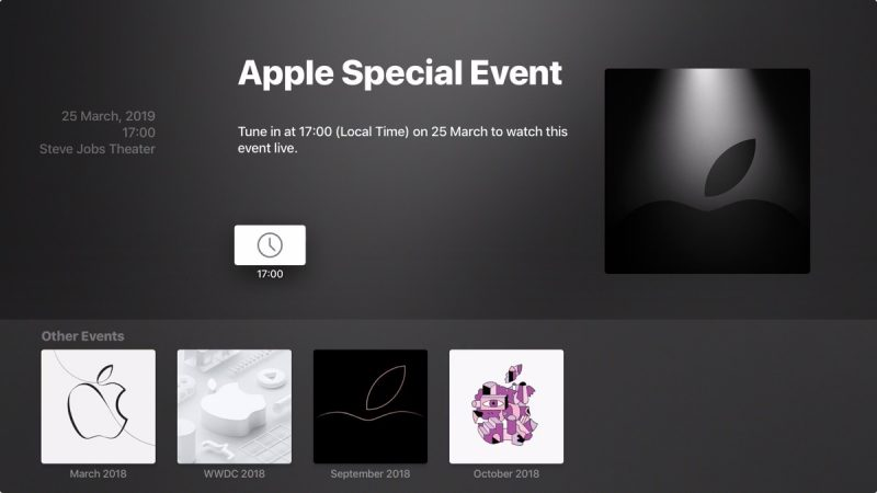 Apple Updates Events App for Apple TV Ahead of March 25 'It's Showtime' Event