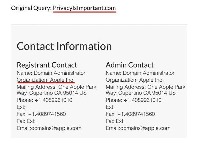 Apple Registers PrivacyIsImportant.com Domain Name