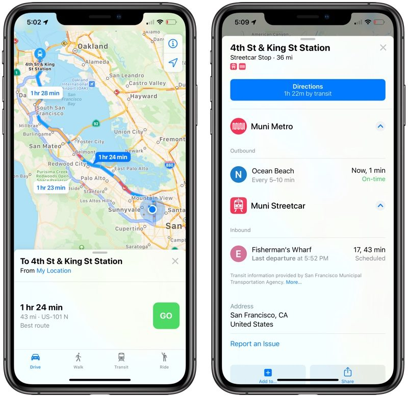 transit information in maps in iOS 13