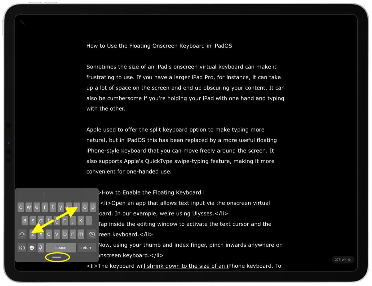 iPadOS 教程 | 如何在 iPad 上使用屏幕浮动键盘?