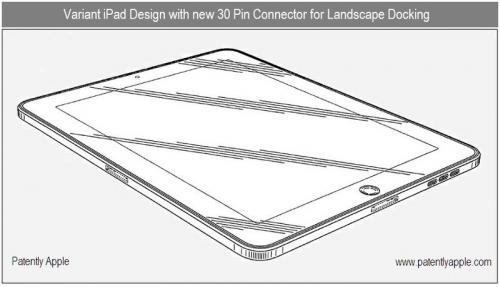 apple ipad design patents showing dual dock connectors