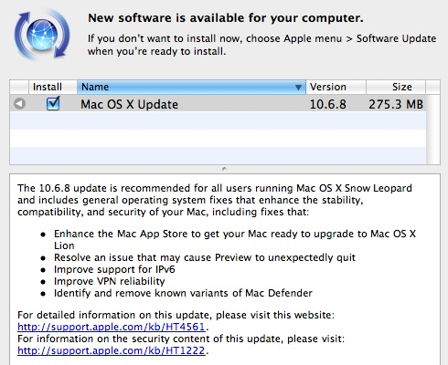 mac software update  10.6