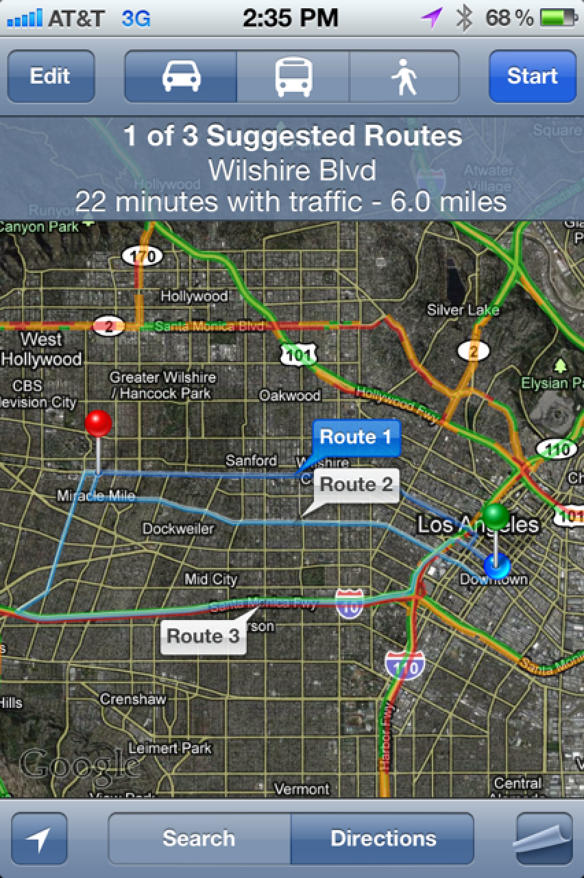 Multiple Routes Supported in iOS 5 Google Maps - MacRumors