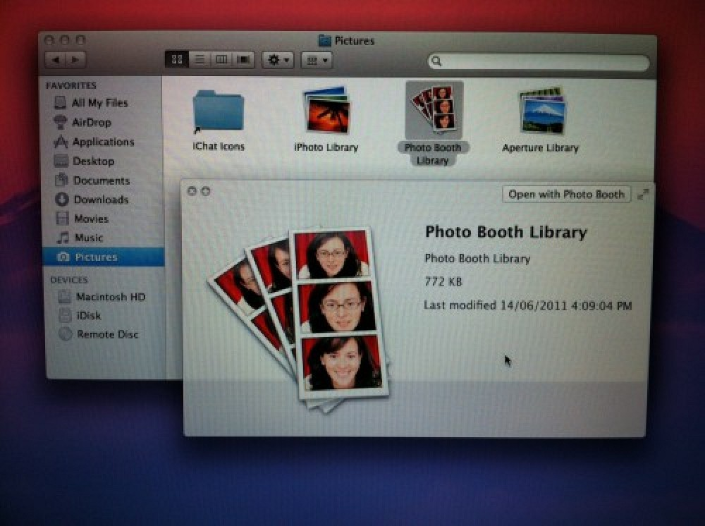 photo booth managed by library in lion mac rumors