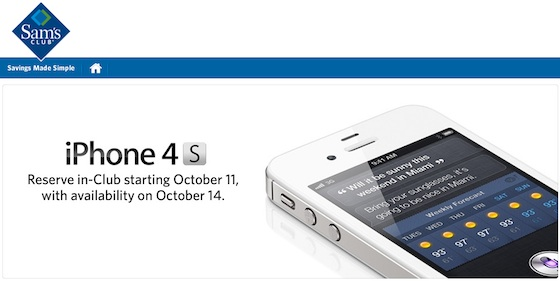 sams club iphone sam s club begins taking iphone 4s reservations for friday 8590