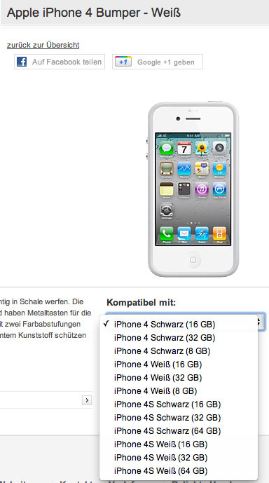 iPhone 4S' 16GB, 32GB, 64GB Listings at Vodafone Germany