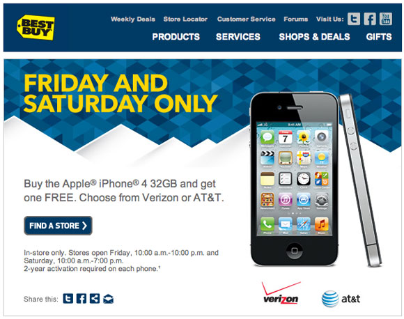 in a replay of their christmas eve offer bestbuy is again offering the 32gb iphone 4 in a buy one get one free offer - Best Buy Hours Christmas Eve