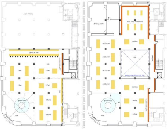 Apple 39 s first dutch retail store to open in amsterdam on for Retail store floor plan