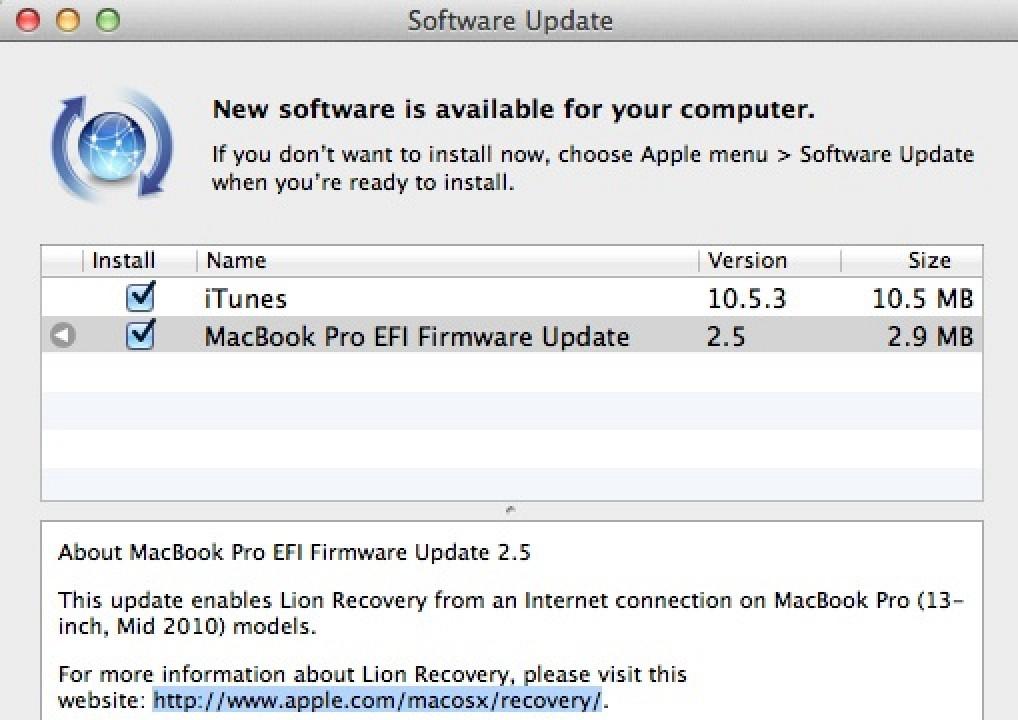 Updating firmware on macbook pro