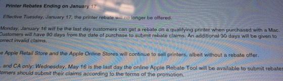 Apple Ends $100 Printer Rebate Program for New Mac Purchases