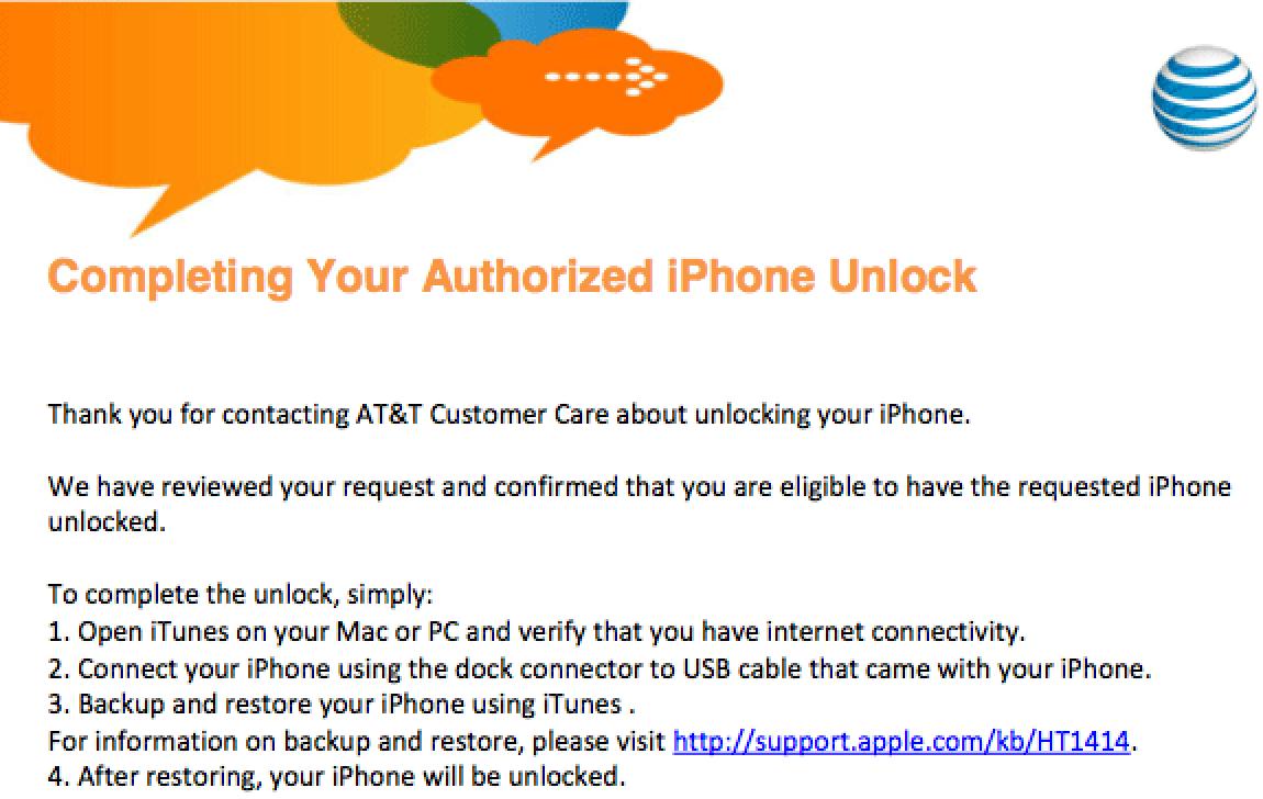 at&t unlock code request