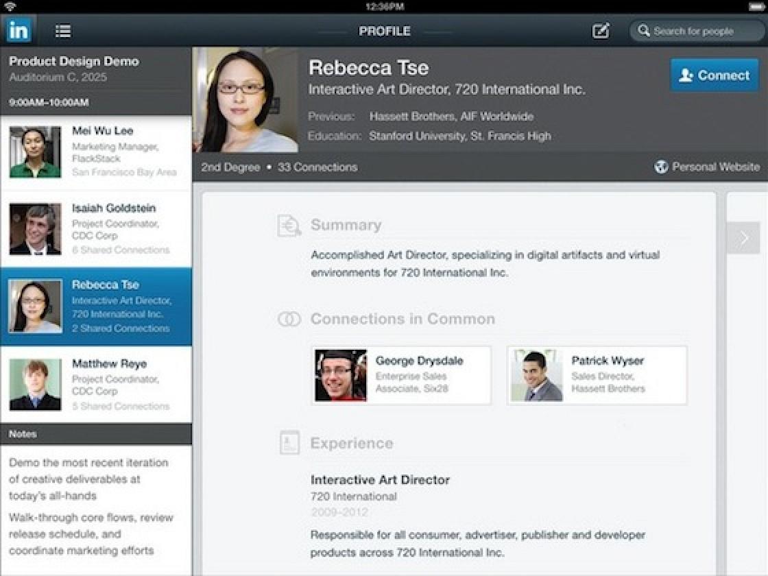 LinkedIn's iOS App Goes Universal, Integrates Calendar Data - MacRumors