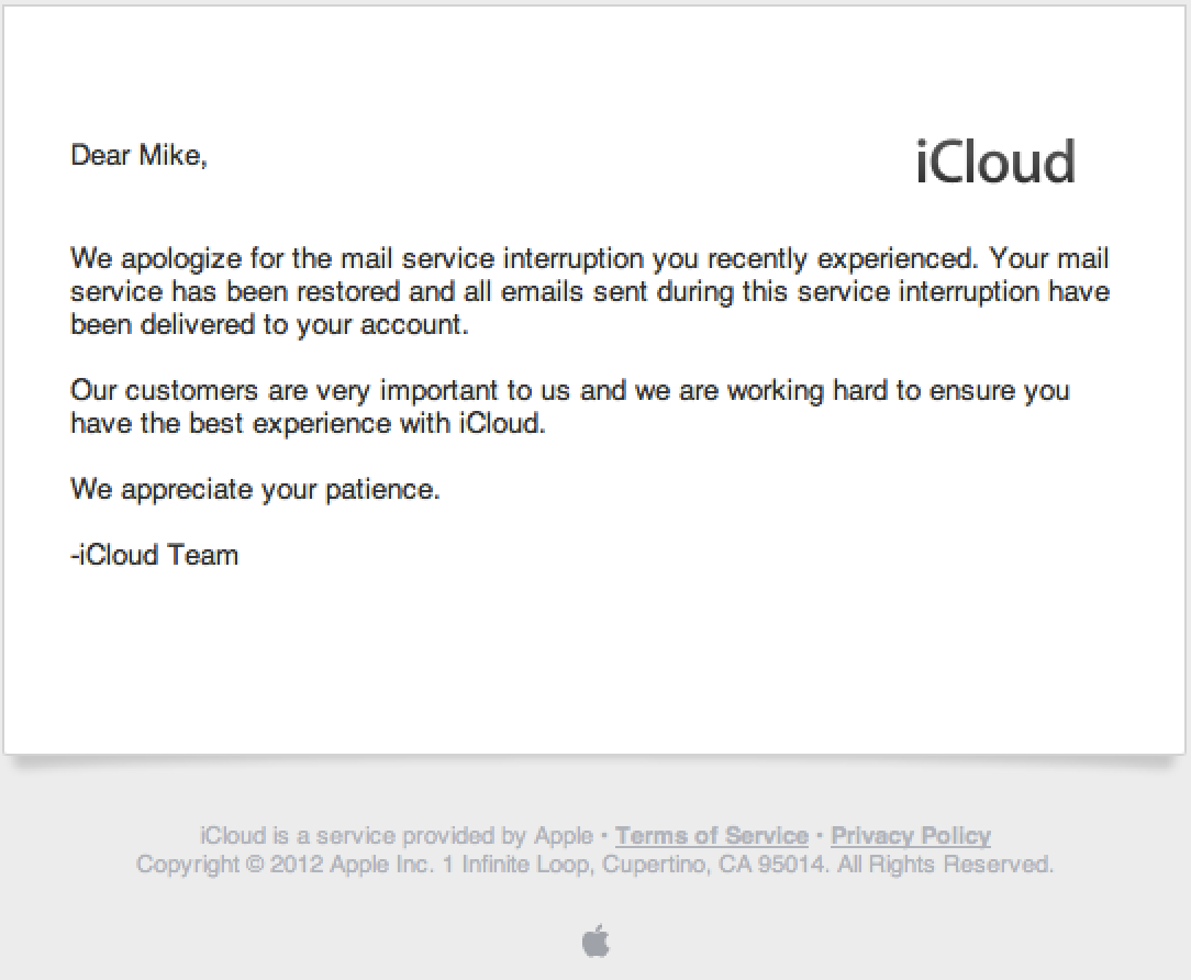 Apple Sends Emailed Apologies For Icloud Outage Mac Rumors