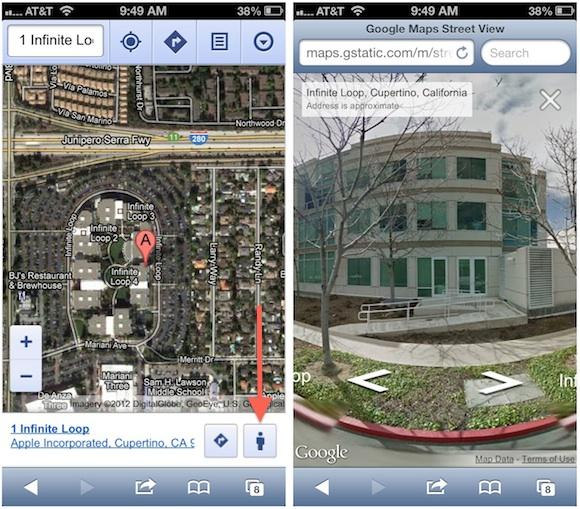 google adds street view to web based google maps for mobile
