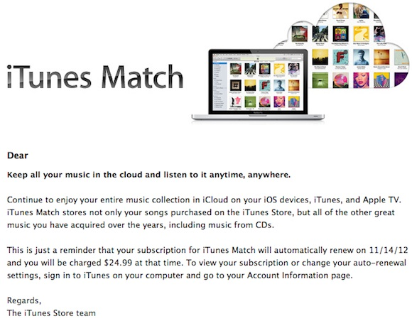 Apple Sending Out iTunes Match Renewal Notices to U S  Users - MacRumors