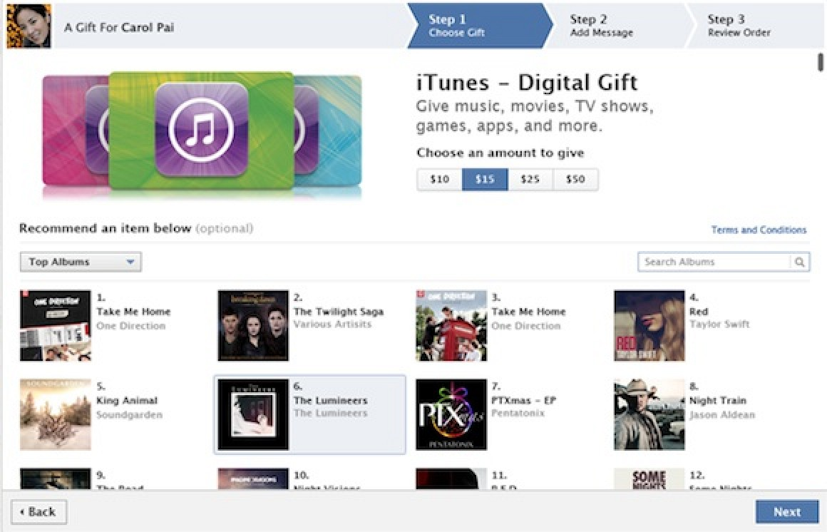 Itunes Digital Gift Cards Now Available Through Facebook Macrumors