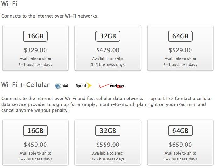 iPad Mini Ship Times Drop to 3-5 Days on US, Canada, Australia