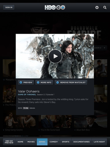 HBO Updates iOS App with AirPlay Multitasking and Game of