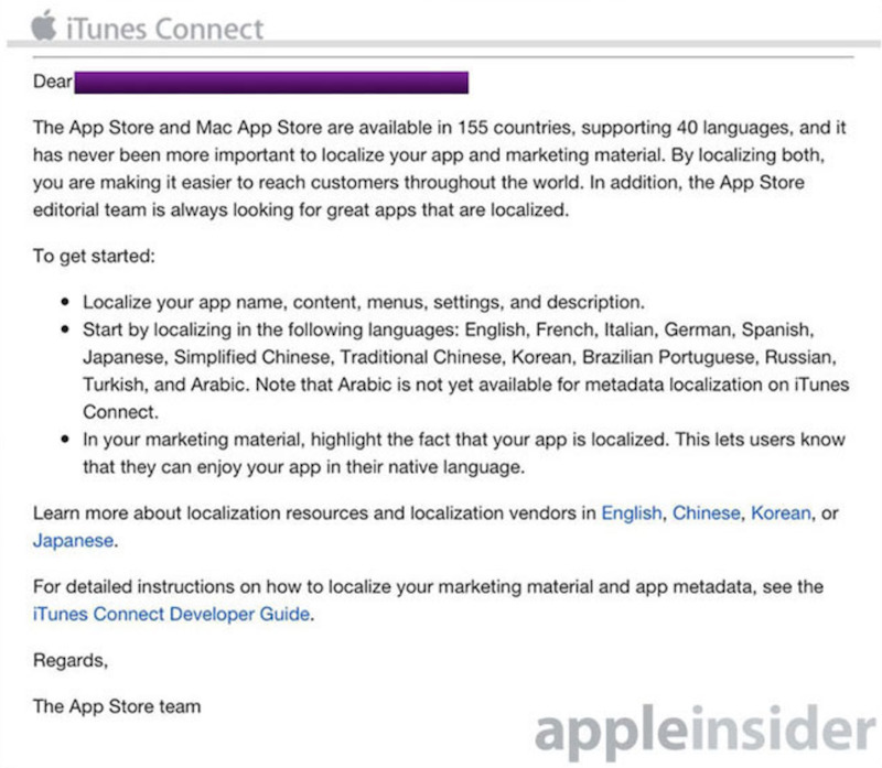 Apple Asking Developers to Localize Apps, Opens Chinese