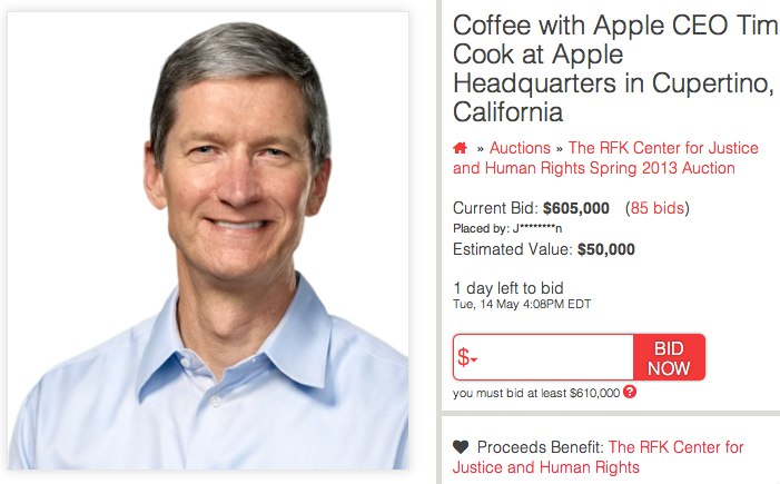 Charitybuzz 1  Tim Cook Resume