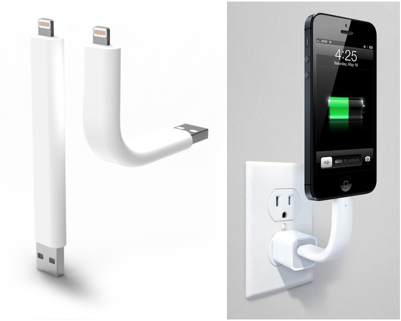 iphone lightning cable. \u0027trunk\u0027 posable lightning cable doubles as iphone stand iphone