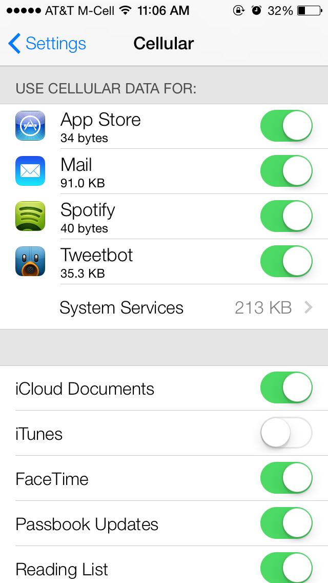 Ios 7 Beta Tidbits Per App Cellular Data Usage Live Clock