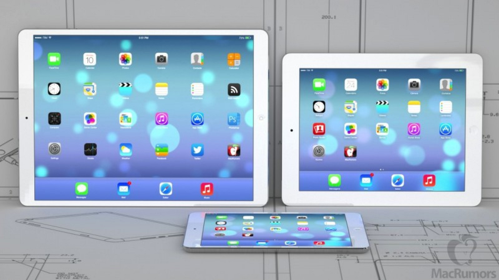 Size Comparison Of A 12 9 Inch Ipad With Smaller Ipad Models And 13