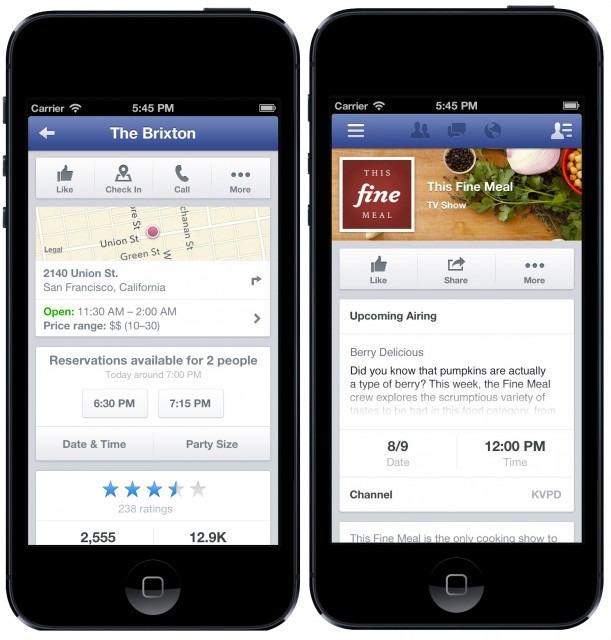Facebook Adds Hashtag Searching OpenTable Restaurant Reservations - Table reserve app