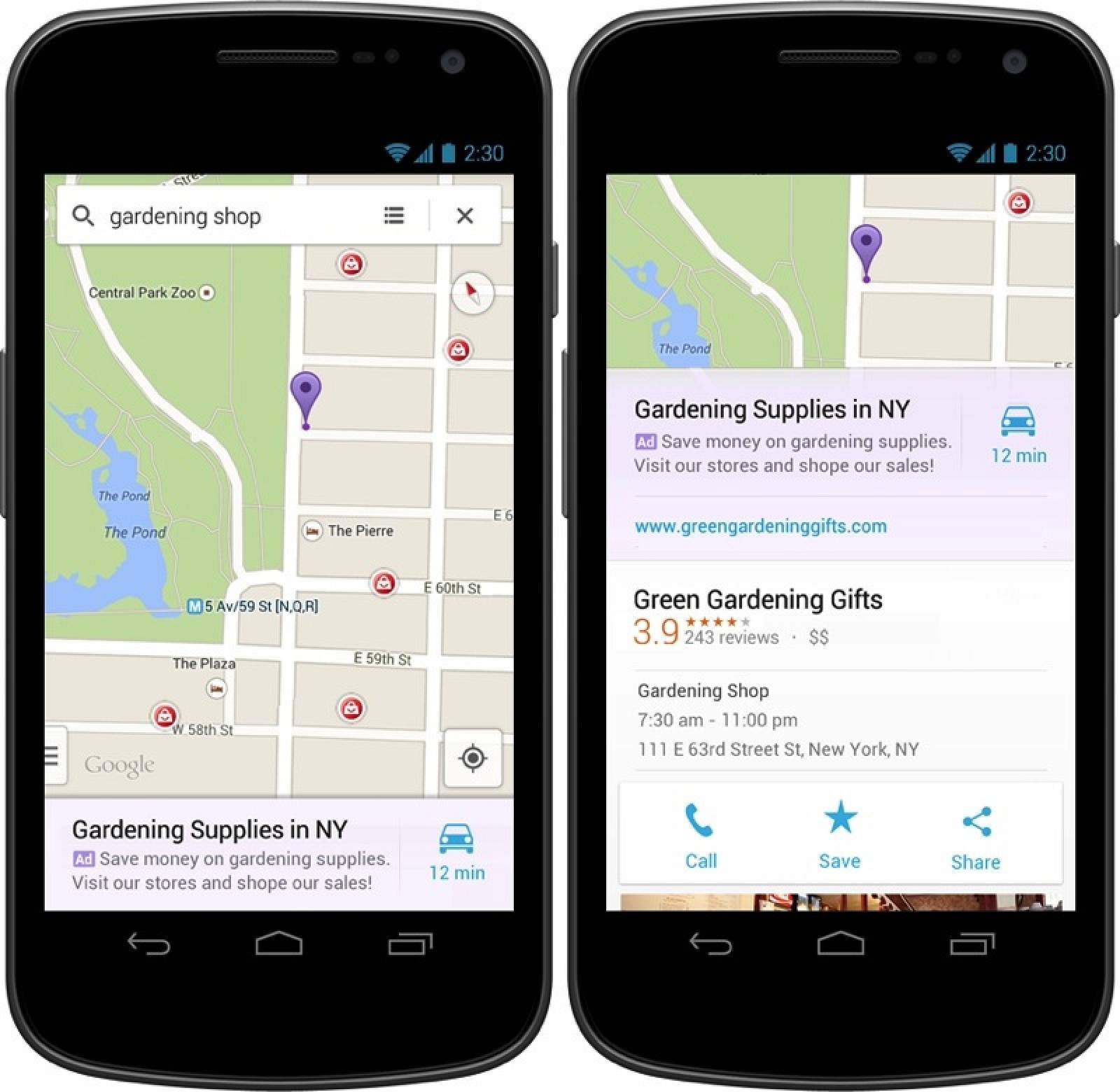 google showing new 39 relevant 39 ads in google maps ios app. Black Bedroom Furniture Sets. Home Design Ideas
