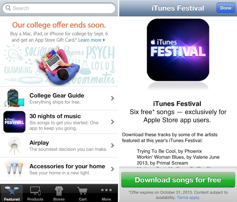 Apple Promotes iTunes Festival with 6 Free Song Downloads via 'Apple