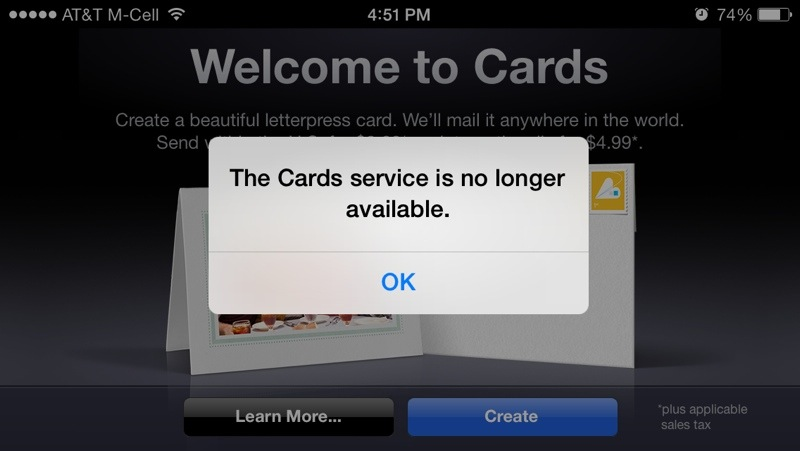 Apples cards app appears to be discontinued update confirmed by cards which initially debuted alongside the iphone 4s was designed to be an ios version of the greeting card creation service found within iphoto 11 m4hsunfo