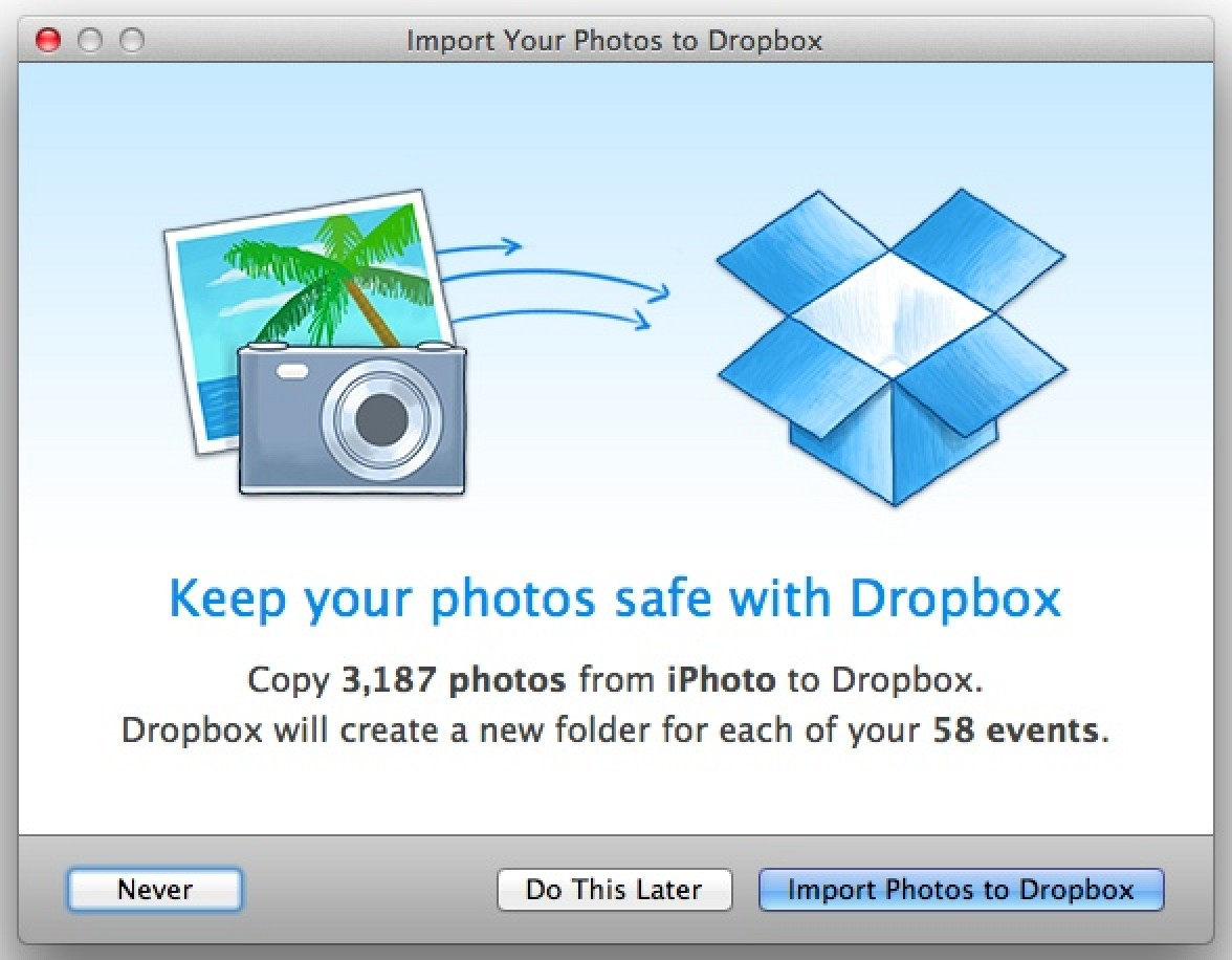 Dropbox for Mac Updated with iPhoto Integration, Automatic